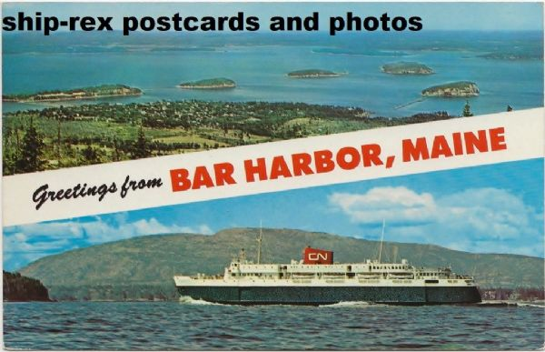 BLUENOSE (1956b, Canadian National) on Bar Harbor postcard